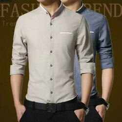 Mens Slim Fit Leisure Business Top Casual Long Sleeve Formal Dress Shirts