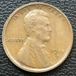 1918 S Wheat Penny Lincoln Cent 1c High Grade 31491