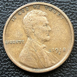 1918 S Wheat Penny Lincoln Cent 1c High Grade 31495