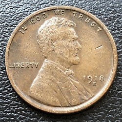 1918 S Wheat Penny Lincoln Cent 1c High Grade 31499