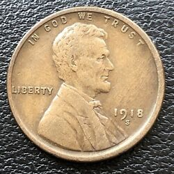 1918 S Wheat Penny Lincoln Cent 1c High Grade 31503