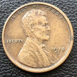 1918 S Wheat Penny Lincoln Cent 1c High Grade 31505