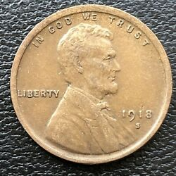 1918 S Wheat Penny Lincoln Cent 1c High Grade 31506