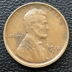 1918 S Wheat Penny Lincoln Cent 1c High Grade 31510