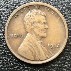 1918 S Wheat Penny Lincoln Cent 1c High Grade 31515