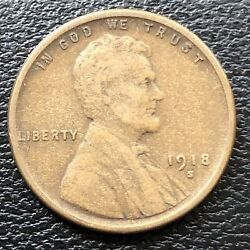 1918 S Wheat Penny Lincoln Cent 1c High Grade 31516