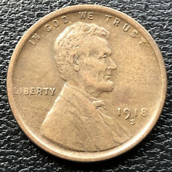 1918 S Wheat Penny Lincoln Cent 1c High Grade 31520