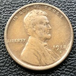 1918 S Wheat Penny Lincoln Cent 1c High Grade 31521