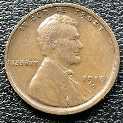 1918 S Wheat Penny Lincoln Cent 1c High Grade 31523