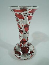 Antique Vase - Art Nouveau Water Lily Pad - American Red Glass Silver Overlay