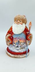 10.2 Wooden Carved Santa With Birds Father Frost Ded Moroz Hand Carved Decor