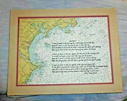 Vintage Lovely Maritime Map With A Poem By Masefield Saco Bay Maine C.1956