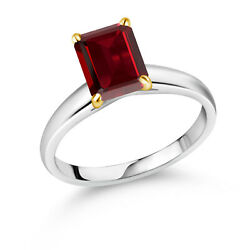2.61 Ct Octagon Red Garnet 10k White Gold Ring With Yellow Gold Prongs Ring