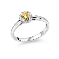 10k White Gold Ring White Created Sapphire Set With Honey Topaz From