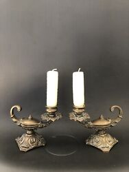 Pair Of Continental Genie Aladdin Lamp Bronze Candle-stick Holders