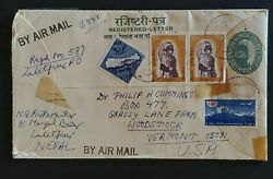 1973 Lalitpur Nepal To Vermont Postal Stationary Stamps Registered Airmail Cover