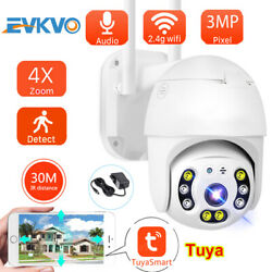 4x Zoom 3mp Tuya Smart Life Ptz Ip Camera P2p Wifi Waterproof Outdoor Cctv Ip66