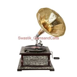 Vintage Look Wooden Gramophone 78 Rpm Record Vinyl Player Phonograph Home Decor