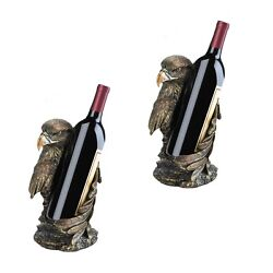 2 Pc Lot, Patriotic Eagle Wine Bottle Holder Statue Home Accent Piece 10 Tall