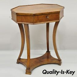 Antique Cherry Wood Italian Biedermeier One Drawer Accent Lamp Side Table