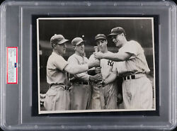 1937 World Series Photograph With Lou Gehrig, Joe Dimaggio, And Mel Ott Psa/dna
