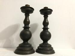 Huge Antique Vintage Bronze Pair Candle Holder Candlestick Majestic Occasions