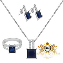Solitaire Sapphire Blue Real Silver Pendent Charm Chain Earring Ring Combo Set