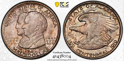 1921 Alabama Commemorative Pcgs Ms66 Lustrous Amber And Steel Blue-high Relief Gem