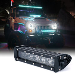 Xprite 8 Inch Led Driving Light Bar With Blue Backlight Work Lamp For Jeep Utv