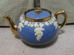 Gibsons Staffordshire Teapot Wedgewood Style Blue W/ Gold Trim And Grape Vines Vgc