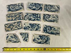 Antique Hand Painted Blue Delft Pottery Tile Lot Of 11 Animals And Flowers