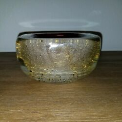 Large Vintage Red Gold Pulegoso Murano Glass Geode Bowl By Archimede Seguso