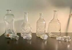 4 Vintage Glass Liquor Quart Size Decanters Clear Glass Bottles With Stoppers