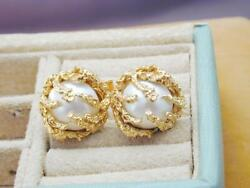 Gorgeous 14k Mabe Pearl Cuff Links Figural Coral Cage Prongs