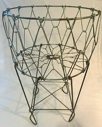 Vintage Mid Century Collapsible Laundry Wire Basket Metal Child Size - Very Rare