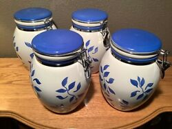 4 Inspirado Stonelite Idc Hand Painted Cookie Jars / Canisters W/ Latching Lids