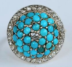 Antique Victorian 18k Gold Turquoise Diamond Dome Ring-estate Jewelry 6.9g