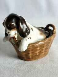 Vintage Royal Doulton Cocker Spaniel Brown White Puppy In A Basket Signed