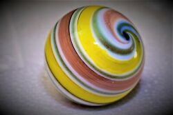 Handmade Marble Gold Stone  1 1/2 + Inches Gorgeous Swirl Marble Multi Colored