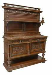 Antique Sideboard, Buffet Server Display, French Henri Ii Sty, Marble-top Walnut