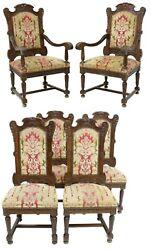 Antique Chairs, Dining, Set Of Six, French Louis Xiv Style Carved Walnut, 1800s