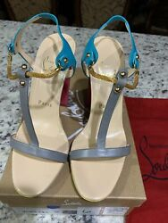 Christian Louboutin Sylvieta Pink/gold Sandals.size 38. Brand New Hard To Find.