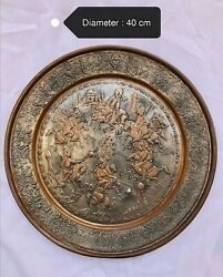 Antique Silver Tone And Copper Middle East Persian Qajar Tray Plate Engraved