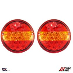 Rear Tail Led Lights 1x Pair 12v Stop Indicator 3 Function Tractor Lorry Trailer