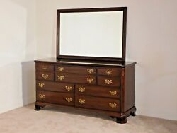 Ethan Allen Georgian Court Chippendale Cherry Long Chest And Mirror 6 Over 4 225