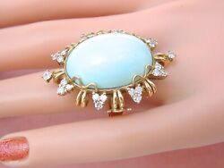 Estate .88ctw Diamond Big Oval Cabochon Turquoise 18k Large Cocktail Ring 1960