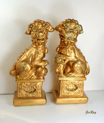 2 Gold Foo Dog Bookends Figurines Statues Chinese Imperial Guardian Lion Statues