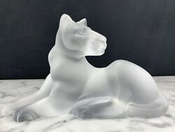 Gorgeous French Art Glass Frosted Crystal Sculpture Of Lioness Signed Lalique