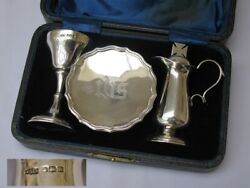 Fine Antique Sterling Silver Wwi 1918 Three Piece Travelling Communion Set