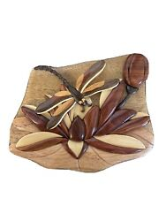 Dragonfly Lotus Hand Carved Wood Puzzle Trinket Jewelry Box Vietnam Made